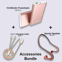 Yoobao Accessories Bundle - Powerbank 10,000, Sports Headset,  3 in 1 Charging Cable