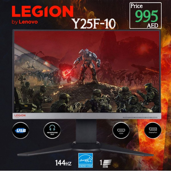 Lenovo Gaming Y25F-10 Monitor, 24.5 Inch, 1920 x 1080 Full HD AMD FreeSync, WLED- 65D9GAC4UK
