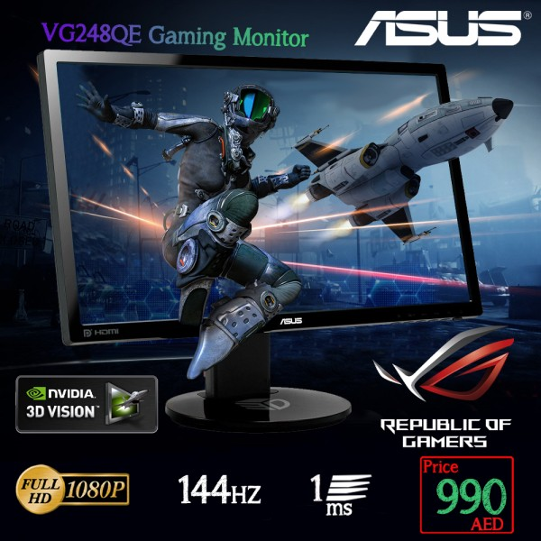 """ASUS VG248QE Gaming Monitor -24"""" FHD (1920x1080) , 1ms, up to 144Hz, 3D Vision Ready"""