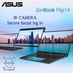 "Asus ZenBook Flip UX463FL-AI023T intel 10th Gen i5-10210U 8GB 512SSD 2GB-MX250 14""Full HD Touch Windows 10 Home  AR-En Keyboard Gun Grey Color"