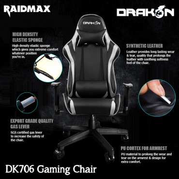 Raidmax Drakon Gaming Chair - White
